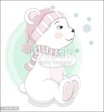 Lovely polar Teddy Bear with a snowflake , in a winter cap and a scarf