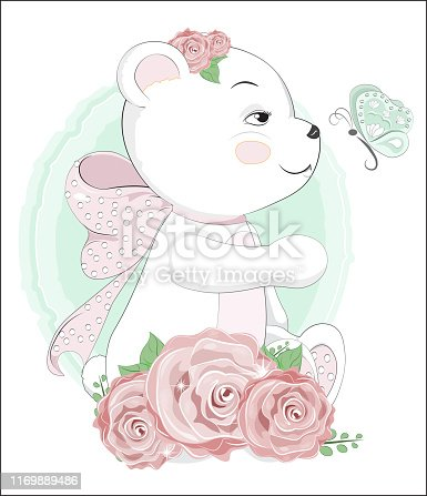 Lovely polar Teddy Bear with a butterfly and a pink bow, in roses