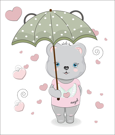 Teddt bear in umbrella and Graphic Tee.