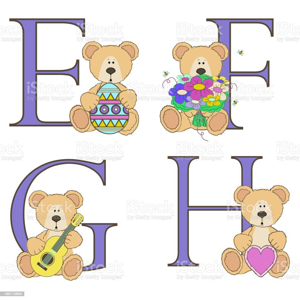 Teddy bear alphabet vector art illustration