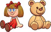 Teddy bear and doll. Vector clip art illustration with simple gradients. Each on a separate layer.