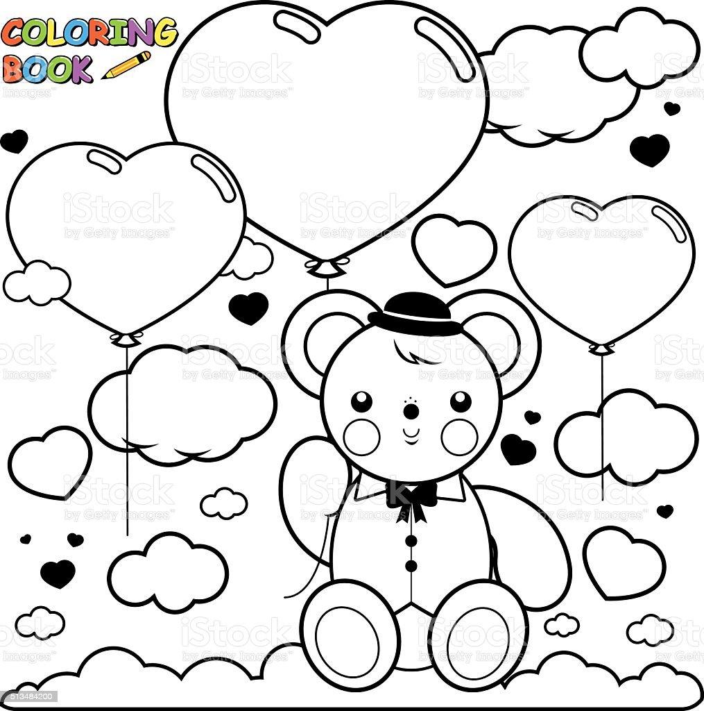 Teddy Oso De Y Corazón Globos En El Cielo - Arte vectorial de stock ...