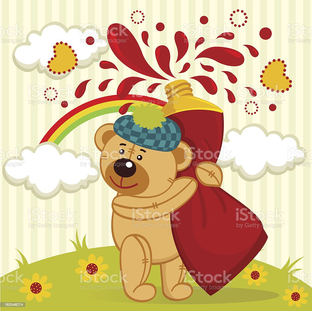 teddy bear artist royalty-free stock vector art