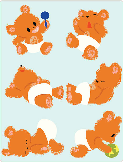 Teddy bear babies Six teddy bears wearing diapers and  doing various things: playing with a rattle with a binki in its mouth,  yawning, three are dozing, and one playing with a ball heyheydesigns stock illustrations