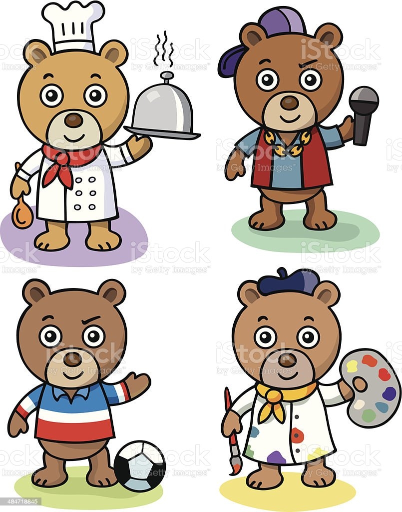 Teddy Bear Chef and Friends vector art illustration