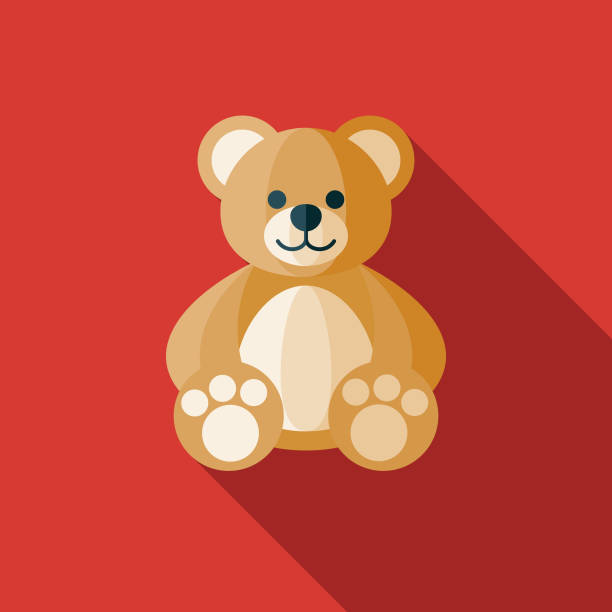 Teddy Bear Children's Toy Icon A flat design icon with a long shadow. File is built in the CMYK color space for optimal printing. Color swatches are global so it's easy to change colors across the document. stuffed stock illustrations