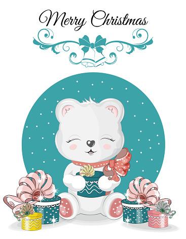 teddy bear Christmas card.