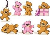 Fully editable vector illustration of a collection of cartoon teddy bears.