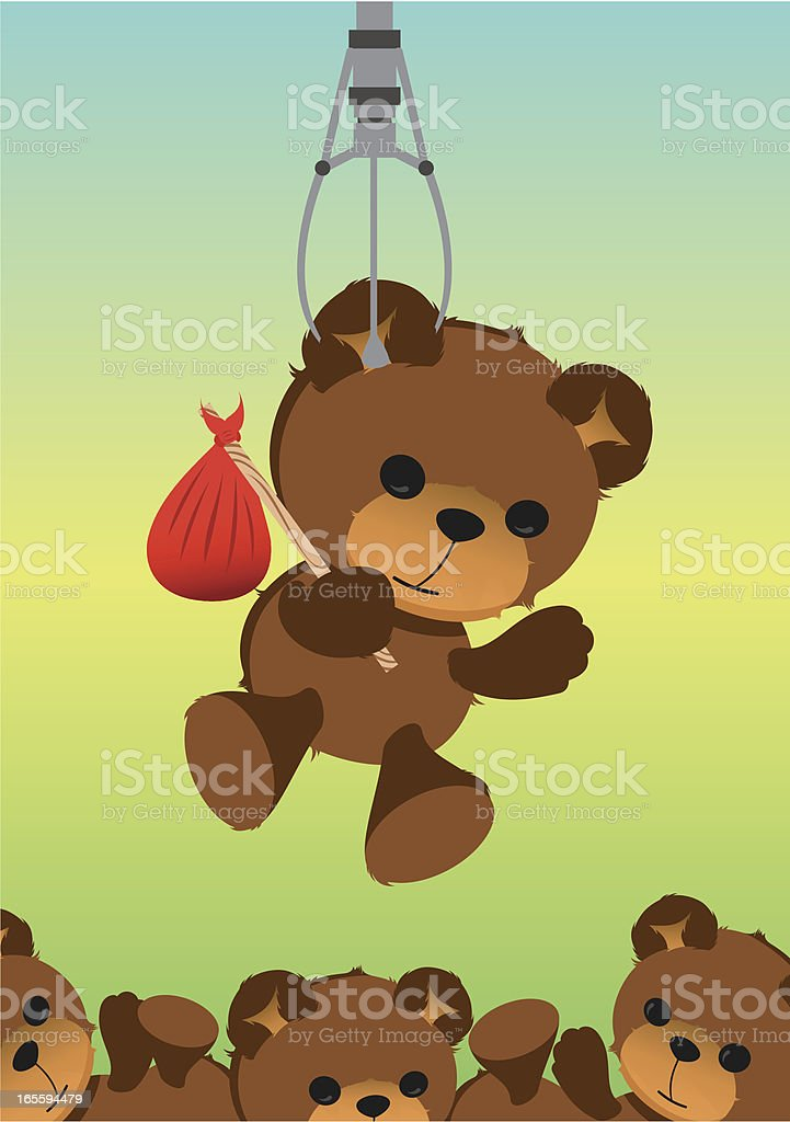 Teddy Bear Crane Machine vector art illustration