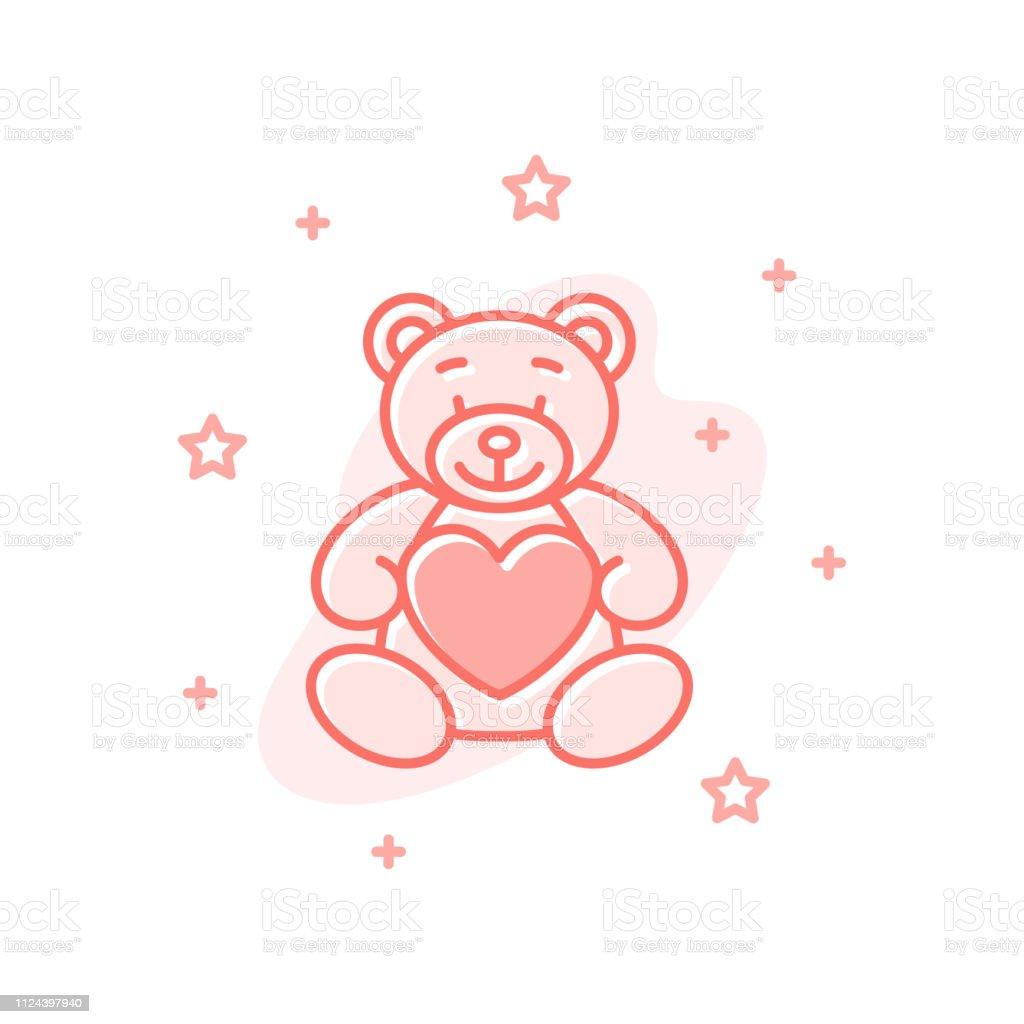 Teddy bear design valentine day vector concept - ilustração de arte vetorial