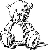 Hand-drawn vector drawing of a Teddy Bear. Black-and-White sketch on a transparent background (.eps-file). Included files are EPS (v10) and Hi-Res JPG.