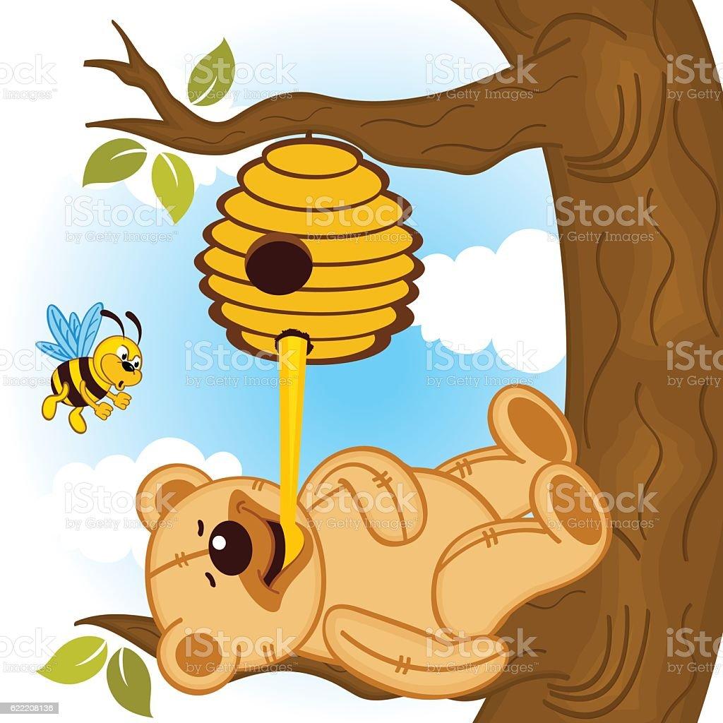 royalty free bear and honey clip art vector images illustrations rh istockphoto com clipart honey jar honey clipart png