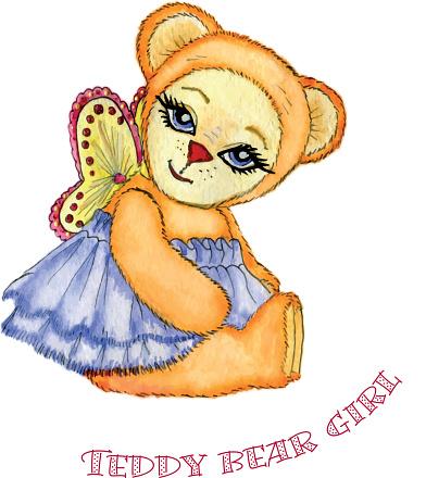Teddy bear girl watercolor