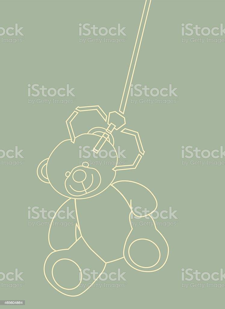 Urso de Pelúcia removido por uma máquina do braço. - ilustração de arte vetorial