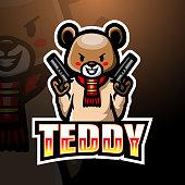 Vector illustration of  Teddy Bear gunner mascot esport logo design