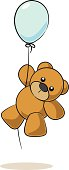 Fully editable vector illustration of a teddy bear hanging from a Balloon.