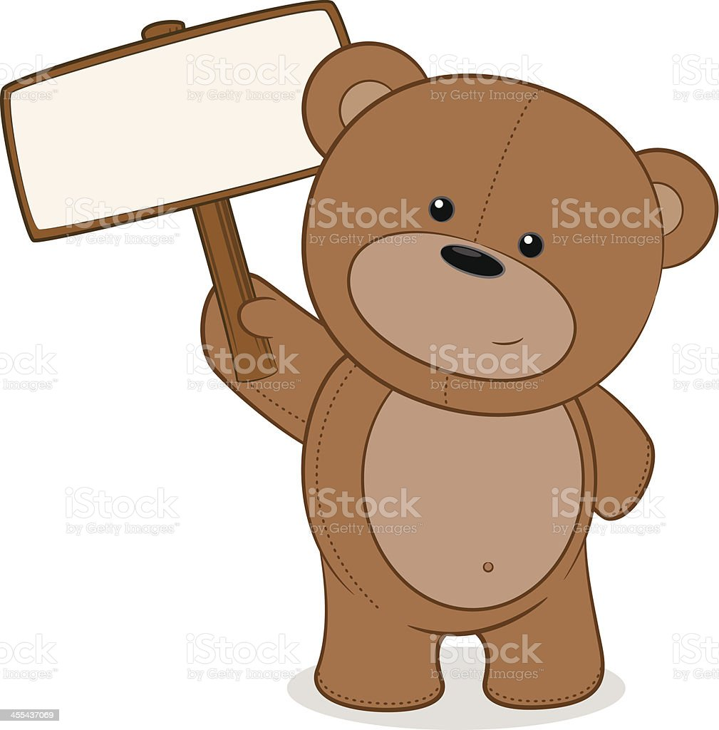 Teddybär Hält Eine Leere Schild Stock Vektor Art und mehr Bilder von ...