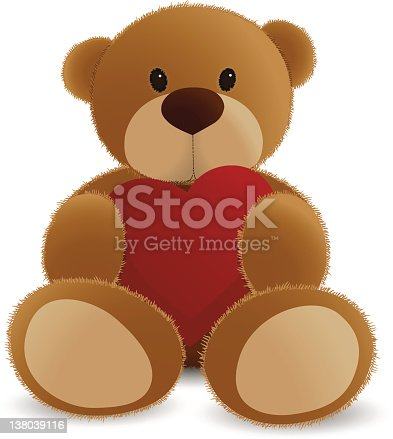 Teddy bear vector illustration, only radial gradients used