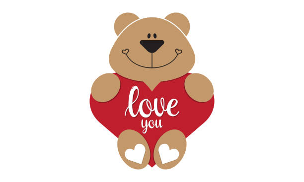 Teddy bear holding red heart isolated background Teddy bear holding red heart isolated background teddy bear stock illustrations