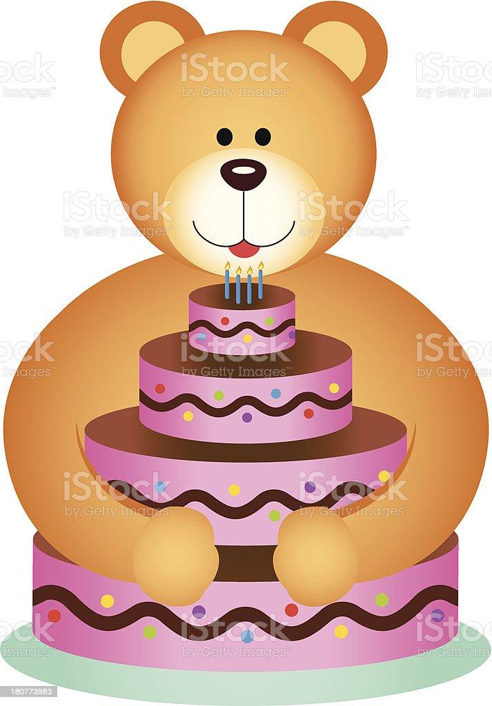 Teddy Bear Hugging Birthday Cake Stock Vector Art More Images Of