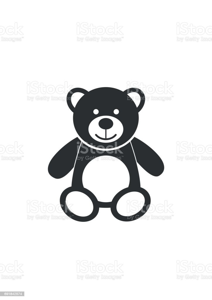 Teddy bear icon character isolated on white background. Soft toy icon vector art illustration
