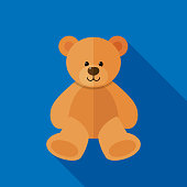 Vector illustration of a teddy bear against a blue background in flat style.