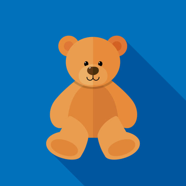 Teddy Bear Icon Flat Vector illustration of a teddy bear against a blue background in flat style. stuffed stock illustrations