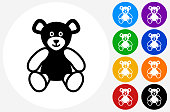 Teddy Bear Icon on Flat Color Circle Buttons. This 100% royalty free vector illustration features the main icon pictured in black inside a white circle. The alternative color options in blue, green, yellow, red, purple, indigo, orange and black are on the right of the icon and are arranged in two vertical columns.