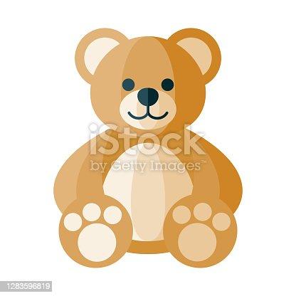 istock Teddy Bear Icon on Transparent Background 1283596819