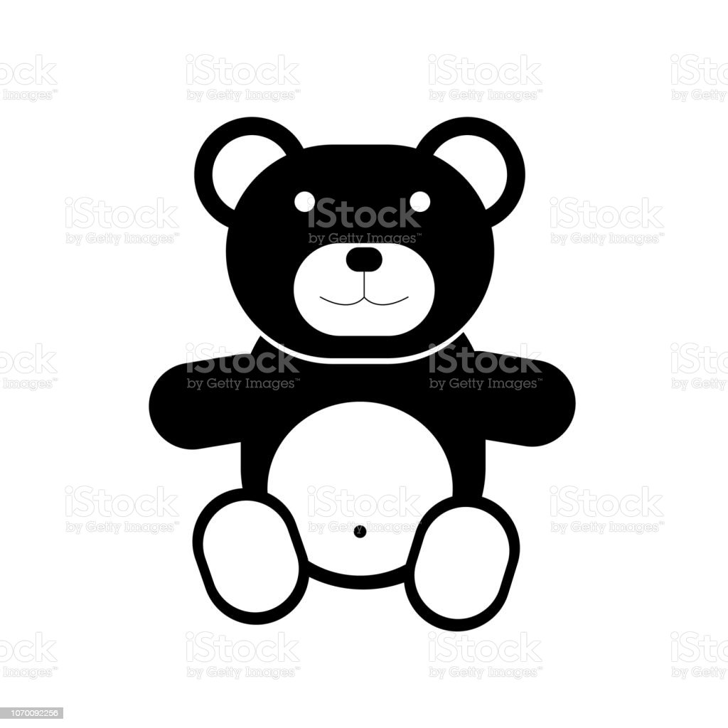 Teddy bear icon on white background - ilustração de arte vetorial