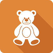Vector illustration of a brown teddy bear icon in flat style.