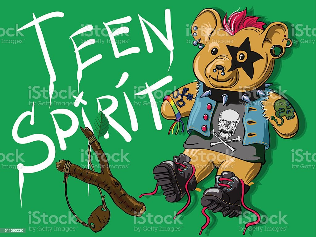 Teddy bear in the informal punk outfit with slingshot vector art illustration