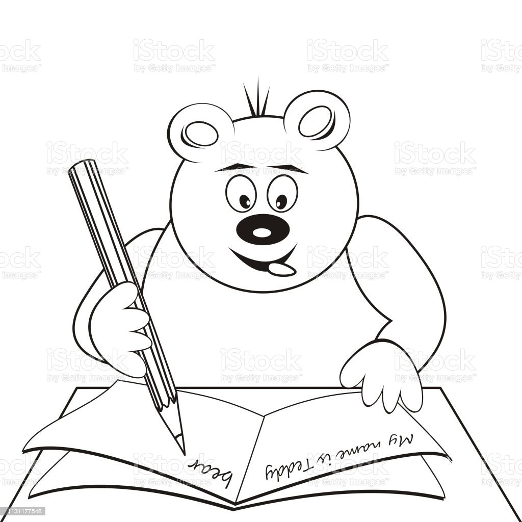 - Teddy Bear Learn Coloring Book Stock Illustration - Download Image Now -  IStock