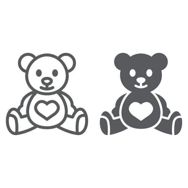 Teddy bear line and glyph icon, child and toy, animal sign, vector graphics, a linear pattern on a white background. Teddy bear line and glyph icon, child and toy, animal sign, vector graphics, a linear pattern on a white background, eps 10. teddy bear stock illustrations
