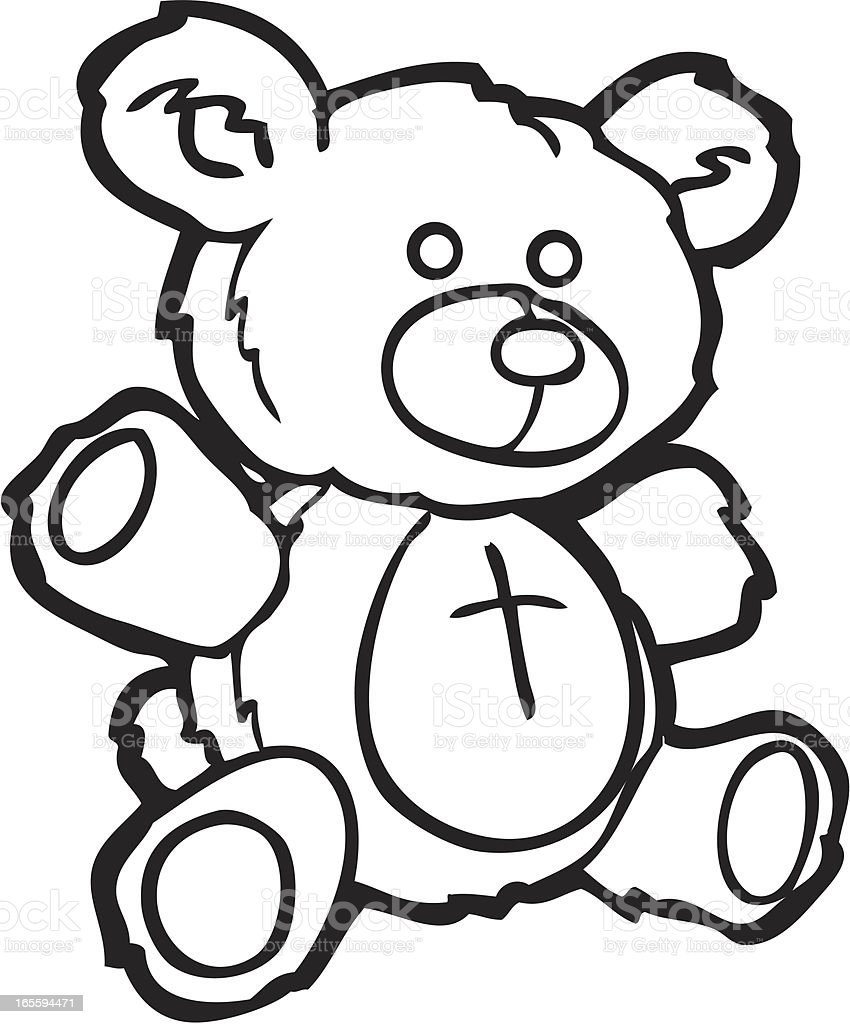 Teddy bear line art royalty-free stock vector art