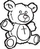 Clip art style illustration of a teddy bear isolated on a white background. Part of a series on child toys. Line drawing also available in full color.