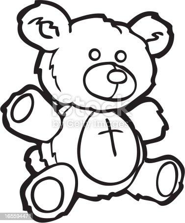 Ours en peluche dessin au trait cliparts vectoriels et plus d 39 images de cartoon 165594471 istock - Dessin ours en peluche ...
