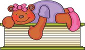 Cute Illustration of a bear lying on a book and hugging it.