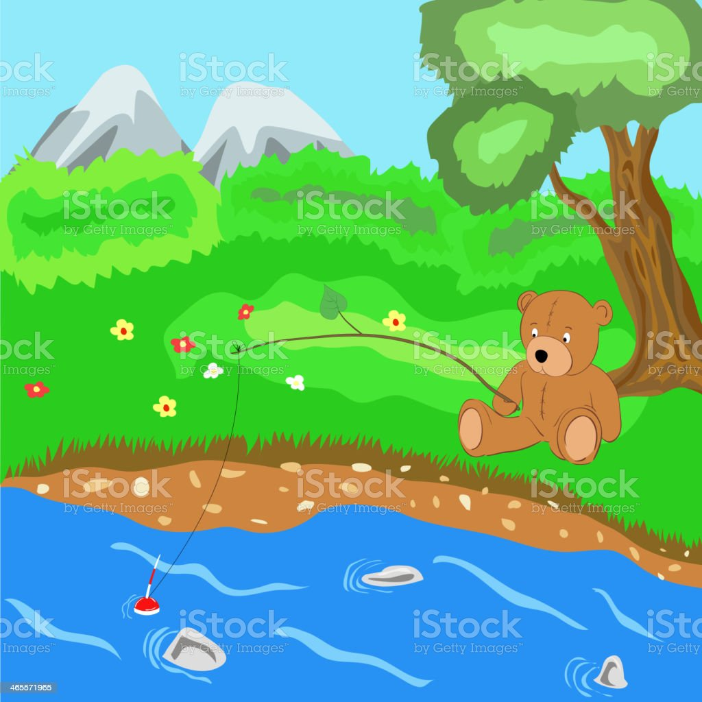 Teddy bear on fishing. Vector illustration royalty-free stock vector art