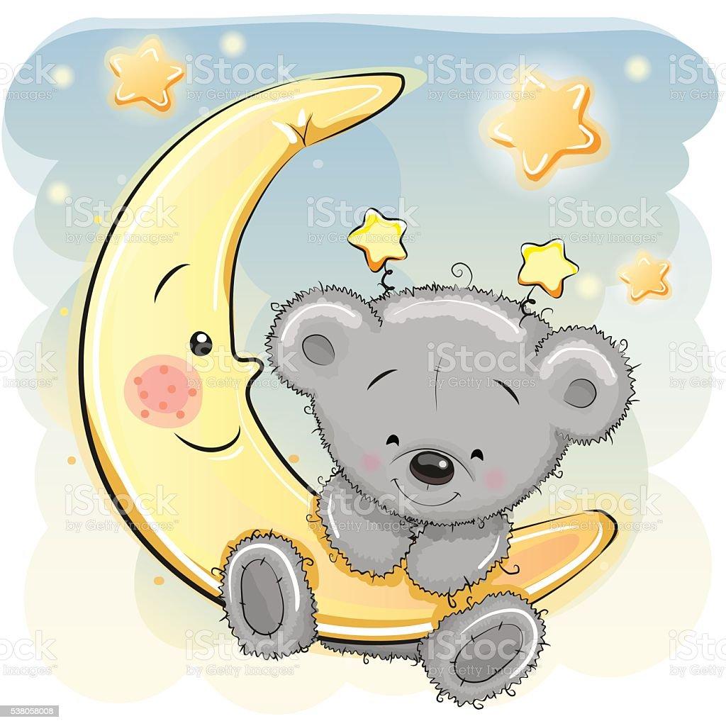 Teddy Bear on the moon vector art illustration