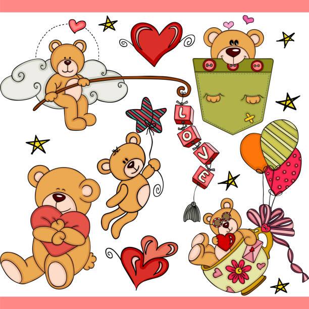 teddy bär party set digitale elemente - herzkissen stock-grafiken, -clipart, -cartoons und -symbole