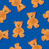 Vector illustration of teddy bears in a repeating pattern against a blue background.