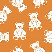 Vector illustration of teddy bears in a repeating pattern against a brown background.