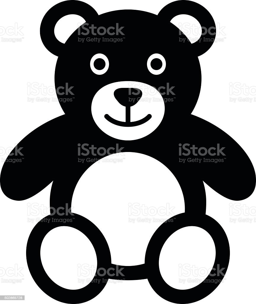 Teddy bear plush toy flat icon for apps and websites vector art illustration