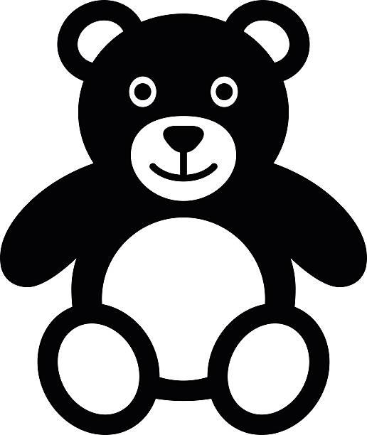 teddy bär aus plüsch flache symbol für anwendungen und websites - pelzmäntel stock-grafiken, -clipart, -cartoons und -symbole