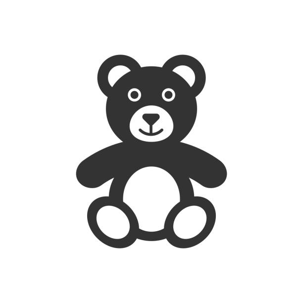 ilustrações de stock, clip art, desenhos animados e ícones de teddy bear plush toy icon. vector illustration. business concept bear pictogram. - teddy bear