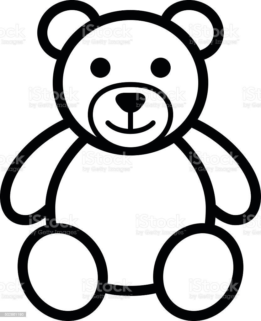 Teddy bear plush toy line art icon illustration vektör sanat illüstrasyonu