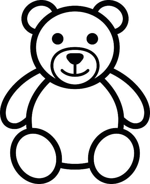ilustrações de stock, clip art, desenhos animados e ícones de urso de pelúcia brinquedo macio linha arte ilustração de ícone - teddy bear