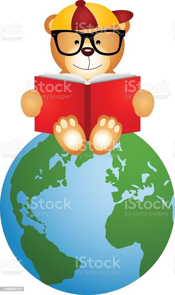 Teddy Bear Reading Book Sitting On Globe Stock Vektor Art Und Mehr