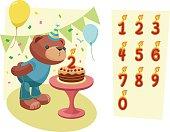 Cheerful Teddy Bear celebrating birthday party.